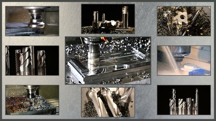 milling machine collage on steel texture