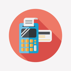 Shopping credit card machine flat icon with long shadow,eps10