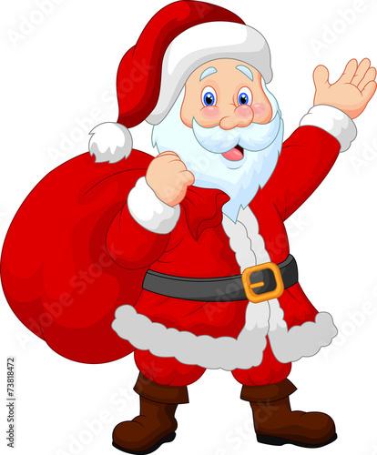 Happy Santa with sack - 73818472