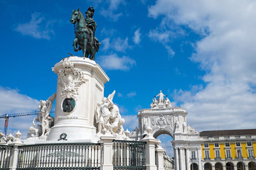 Monument to Jose I. at the Commerce Square in Lisbon, Portugal