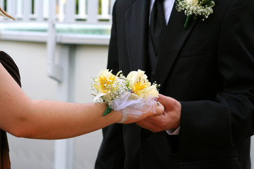 Hands Of Prom Couple With Corsage