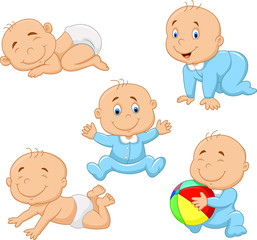 Collection of cartoon baby boy