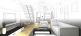 Fototapety sketch design of living room ,3dwire frame render