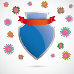 Blue Silver Protection Shield Virus