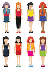 Faceless templates of fashionable women