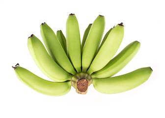 green banana raw isolated on white background