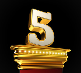 Number Five on golden platform over black background