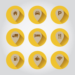 Navigation pin buttons in yellow and brown.