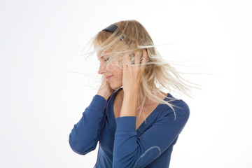 profile of girl on isolated background