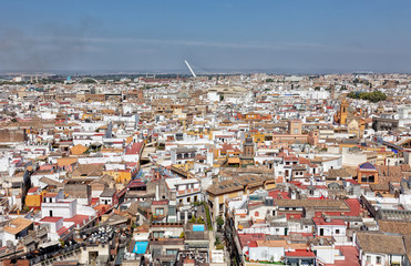 top view on the city of Seville in Spain