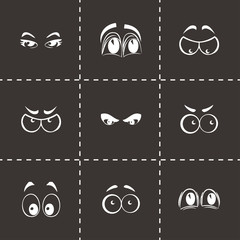 Vector cartoon eyes icons set