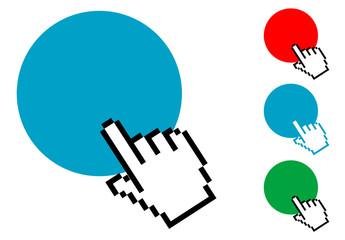 Pictograma hacer clic con varios colores