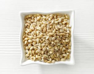 bowl of pearl barley grains