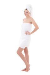 young beautiful woman wrapped in towel isolated on white - full