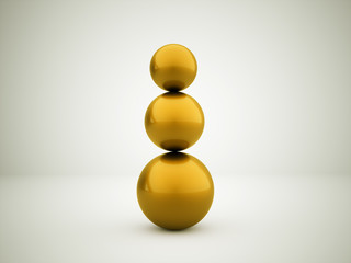 Gold three abstract sphere concept