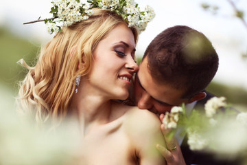 Bride and groom in springtime