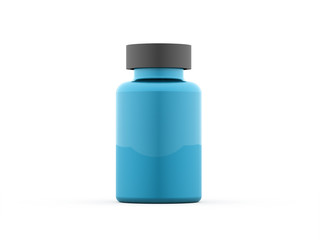 Blue pills bottle rendered isolated on white