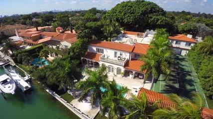 Aerial luxury mansions Miami Beach