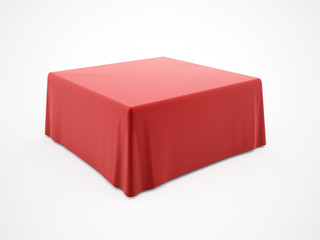 Red table cloth rendered on white