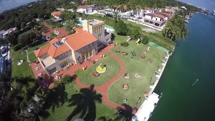 Aerial luxury estates Miami Beach