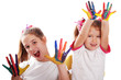 Two cheerful girls show their hands painted in bright colors