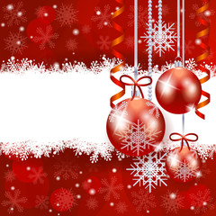 Christmas background with baubles and copy space