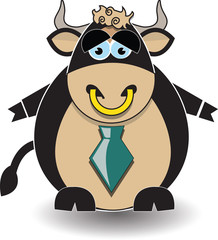 A cartoon illustration of a bull looking sad