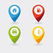 4 navigation map icons in vivid colors.