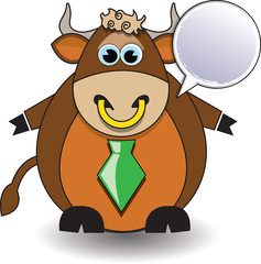 Cartoon illustration of surprised bull with a white sign
