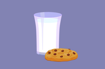 Glass of milk and cookie image