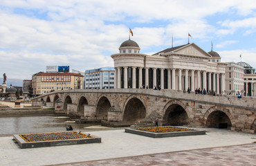 Macedonian archaeological museum in Skopje and Stone bridge