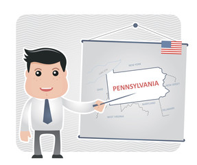 Man with a pointer points to a map of PENNSYLVANIA