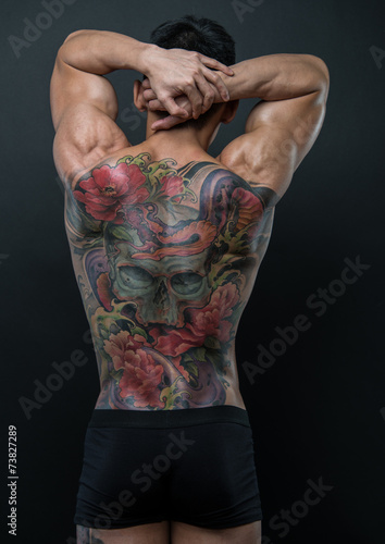 Poster Korean model with tattoo