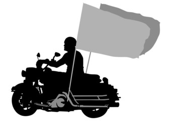 Motorcyclist whit flag
