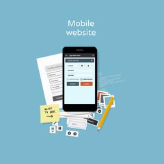 Mobile website development - flat design illustration