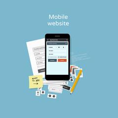 Mobile website development - flat design illustration