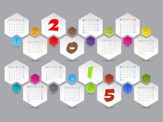 Abstract hexagon shaped 2015 calendar