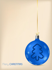 Christmas greeting card with blue decoration
