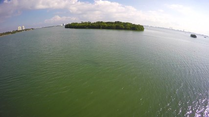 Secluded private Islands at Biscayne Bay Miami aerial video