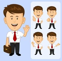 Cartoon Business man set various poses