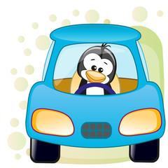 Penguin in a car