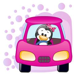 Penguin girl in a car