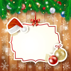 Christmas background with fir and label
