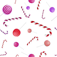Christmas background pattern with candy canes and lollipops in v