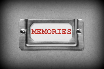 Drawer Label for Memories in black and white with red text