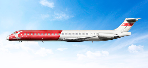 Airplane profile with fictional livery of the Chinese flag