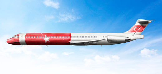 Airplane profile with fictional livery of the Turk flag