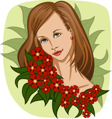 Beautiful smiling girl with exotic red flowers and green leaves