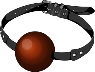 Red ball gag on leather belt, isolated