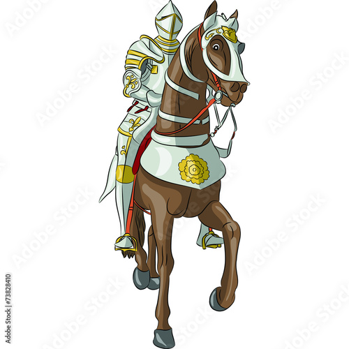 vector medieval knight in armor on horseback - 73828410